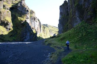 Near the point where the gorge is at its widest.